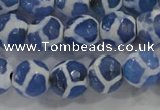 CAG6120 15 inches 8mm faceted round tibetan agate gemstone beads