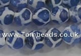 CAG6121 15 inches 10mm faceted round tibetan agate gemstone beads