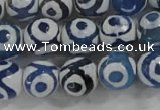 CAG6128 15 inches 14mm faceted round tibetan agate gemstone beads