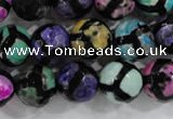 CAG6132 15 inches 12mm faceted round tibetan agate gemstone beads