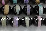 CAG6138 15 inches 14mm faceted round tibetan agate gemstone beads