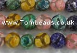 CAG6140 15 inches 8mm faceted round tibetan agate gemstone beads