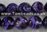 CAG6147 15 inches 14mm faceted round tibetan agate gemstone beads
