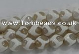 CAG6176 15 inches 10mm faceted round tibetan agate gemstone beads