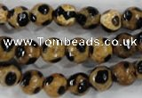 CAG6208 15 inches 14mm faceted round tibetan agate gemstone beads