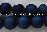 CAG6248 15 inches 20mm round plated druzy agate beads wholesale