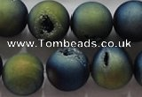 CAG6266 15 inches 16mm round plated druzy agate beads wholesale