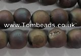 CAG6293 15 inches 10mm round plated druzy agate beads wholesale
