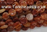 CAG630 15.5 inches 10mm coin natural fire agate beads wholesale