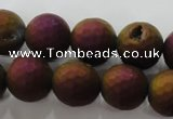 CAG6313 15 inches 10mm faceted round plated druzy agate beads
