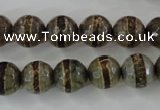 CAG6367 15 inches 10mm faceted round tibetan agate gemstone beads