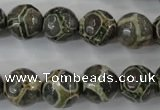 CAG6385 15 inches 14mm faceted round tibetan agate gemstone beads