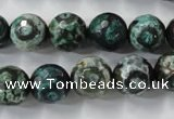 CAG6396 15 inches 10mm faceted round tibetan agate gemstone beads