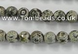 CAG6414 15 inches 8mm faceted round tibetan agate gemstone beads
