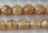 CAG6420 15 inches 12mm faceted round tibetan agate gemstone beads
