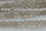 CAG6535 15.5 inches 4mm faceted round Brazilian grey agate beads