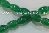 CAG6623 15.5 inches 8*12mm rice green agate gemstone beads