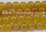 CAG7120 15.5 inches 4mm round AB-color yellow agate gemstone beads