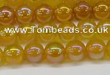 CAG7121 15.5 inches 6mm round AB-color yellow agate gemstone beads