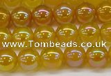 CAG7122 15.5 inches 8mm round AB-color yellow agate gemstone beads