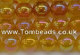 CAG7124 15.5 inches 12mm round AB-color yellow agate gemstone beads