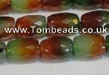 CAG7179 15.5 inches 10*14mm faceted drum rainbow agate gemstone beads