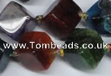 CAG7418 15.5 inches 13*14mm - 14*15mm cube dragon veins agate beads
