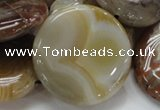 CAG781 15.5 inches 40mm flat round yellow agate gemstone beads