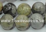CAG7868 15.5 inches 18mm round silver needle agate beads
