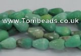 CAG7875 15.5 inches 6*10mm faceted teardrop grass agate beads