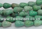 CAG7896 15.5 inches 8*12mm teardrop grass agate beads wholesale