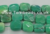 CAG7910 15.5 inches 10*10mm faceted square grass agate beads