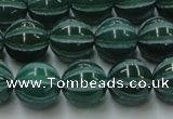 CAG8007 15.5 inches 12mm carved round green agate beads