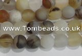 CAG8010 15.5 inches 4mm round matte Montana agate gemstone beads