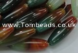 CAG810 15.5 inches 10*30mm rice rainbow agate gemstone beads
