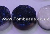 CAG8416 7.5 inches 35mm coin blue plated druzy agate beads