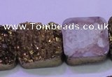 CAG8427 7.5 inches 25*25mm square gold plated druzy agate beads