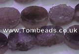 CAG8442 15.5 inches 12*16mm oval grey druzy agate gemstone beads
