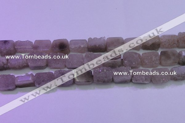 CAG8453 15.5 inches 13*18mm rectangle grey druzy agate gemstone beads