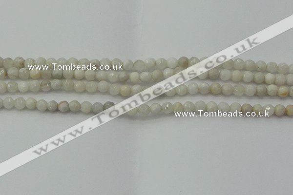 CAG8513 15.5 inches 4mm faceted round grey agate beads wholesale