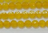 CAG8601 15.5 inches 6mm faceted round yellow agate gemstone beads