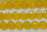 CAG8602 15.5 inches 8mm faceted round yellow agate gemstone beads