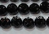 CAG8613 15.5 inches 12mm faceted round black agate gemstone beads