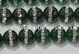 CAG8620 15.5 inches 8mm round green agate with rhinestone beads