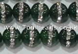 CAG8622 15.5 inches 12mm round green agate with rhinestone beads