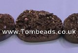 CAG8667 7.5 inches 22*30mm freeform glod plated druzy agate beads