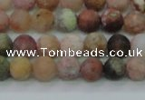 CAG8745 15.5 inches 4mm round matte rainbow agate beads