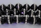 CAG8856 15.5 inches 8mm faceted round agate with rhinestone beads