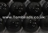 CAG8926 15.5 inches 8mm round matte black agate beads wholesale