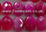 CAG9050 15.5 inches 13*18mm faceted oval line agate beads